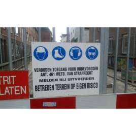Werfbord verboden toegang onbevoegden PP 60 x 40 cm