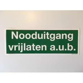 Nooduitgang vrijlaten aub- Sticker 25 x 9 cm.