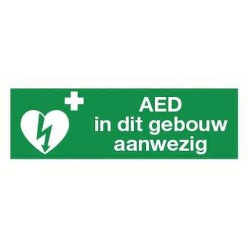 """Pictogram AED- """"AED in dit gebouw aanwezig""""-Sticker"""