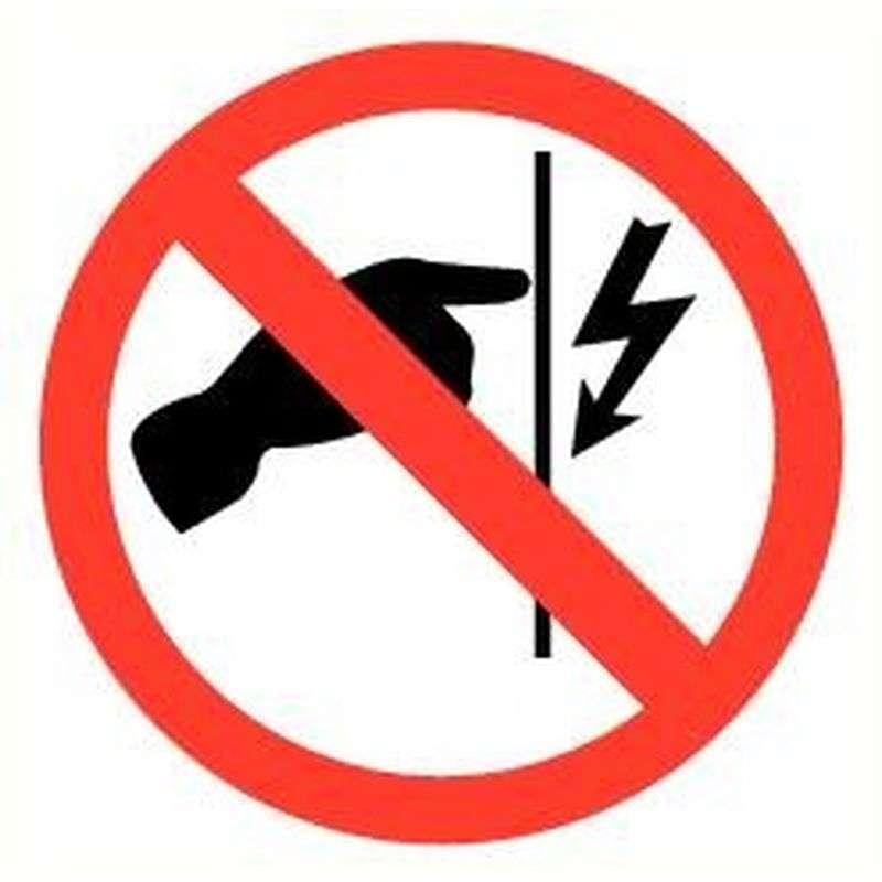 Sticker niet aanraken electr. spanning