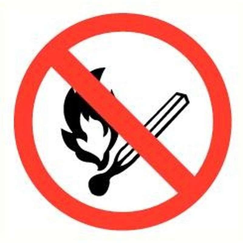 Sticker open vuur verboden