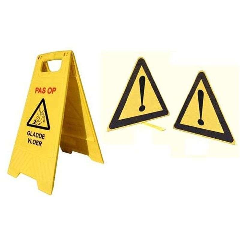 Baken geel pas op, gladde vloer