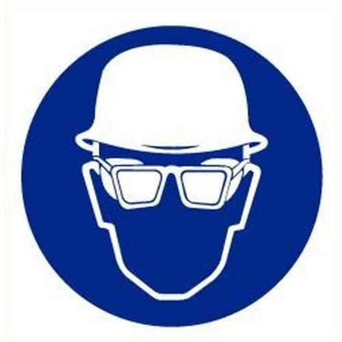 Pictogram helm en bril verplicht- Sticker
