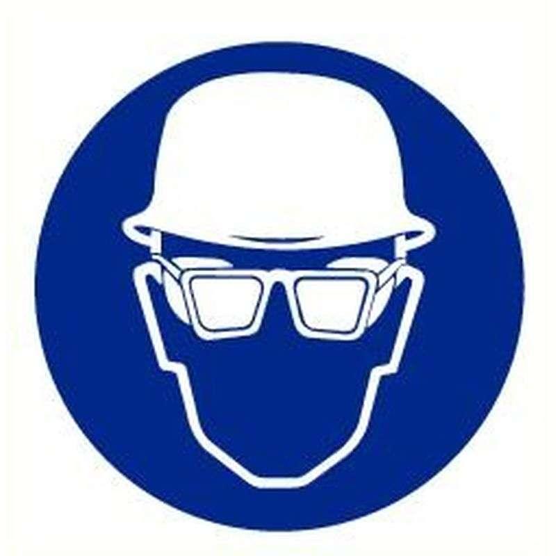 Sticker helm en bril verplicht