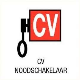 CV noodschakelaar- sticker 12 x 12 cm.