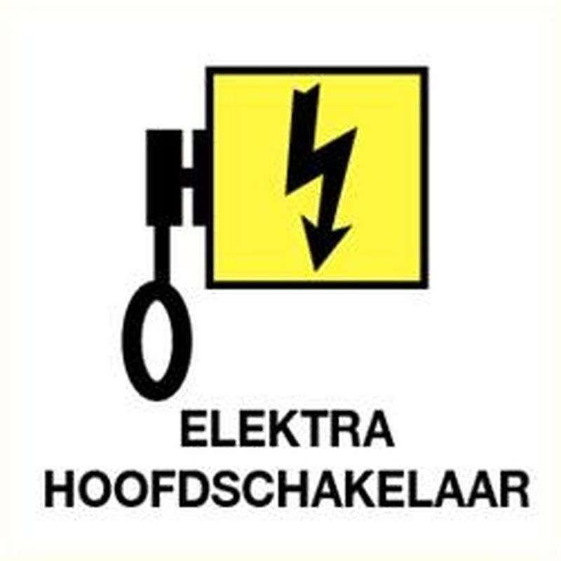 Electra hoofdschakelaar- sticker 12 x 12 cm.