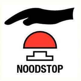 Noodstop - sticker vinyl 12 x 12 cm.