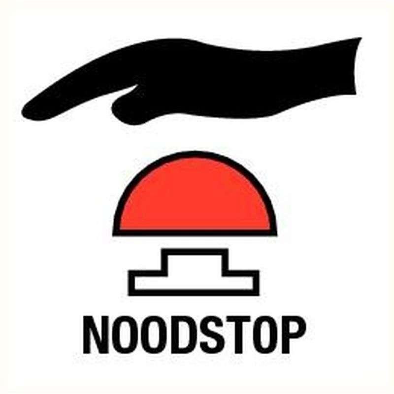 Noodstop- bord pp 12 x 12 cm.