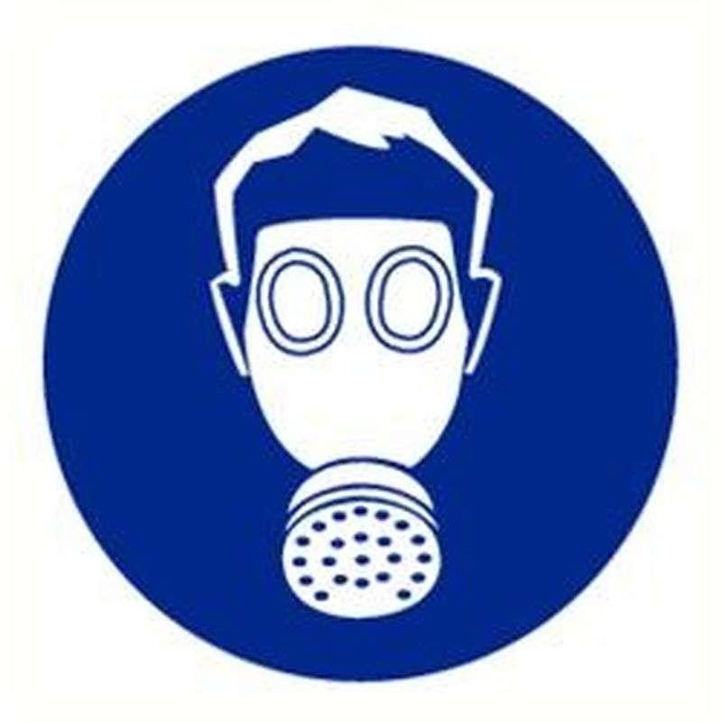 Adembescherming verplicht- sticker 20 cm