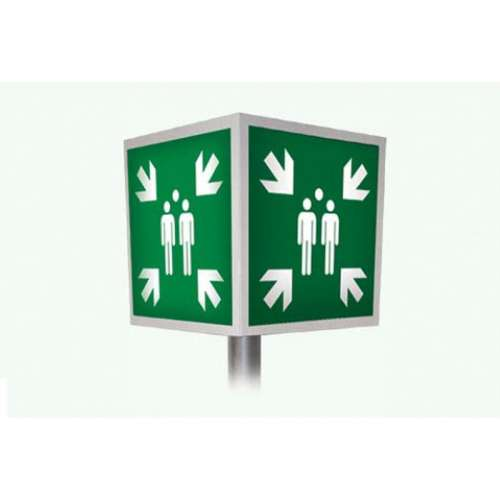 Bord Verzamelplaats- Aluminium bord 4D + Verkeerspaal