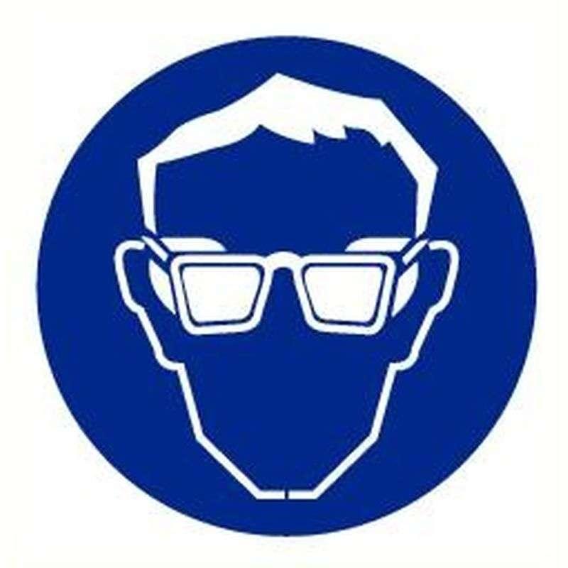 Oogbescherming verplicht- Sticker 20 cm