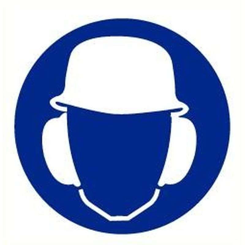 Helm en oorkap verplicht- Sticker 20 cm.