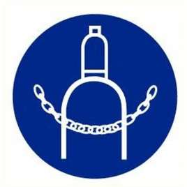 Pictogram gasfles verankeren verplicht- Sticker