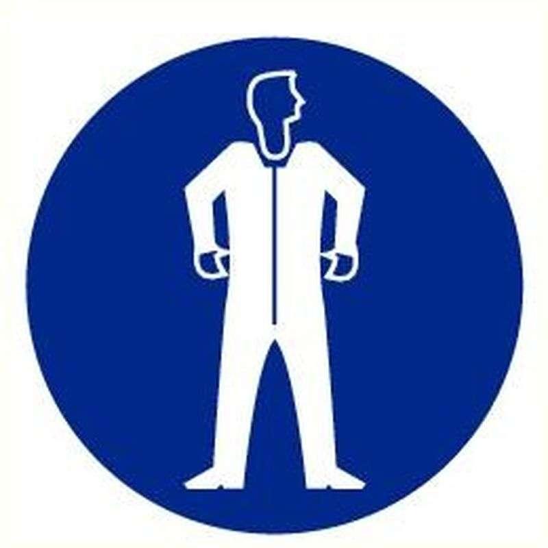 Beschermkledij verplicht- Sticker 20 cm.