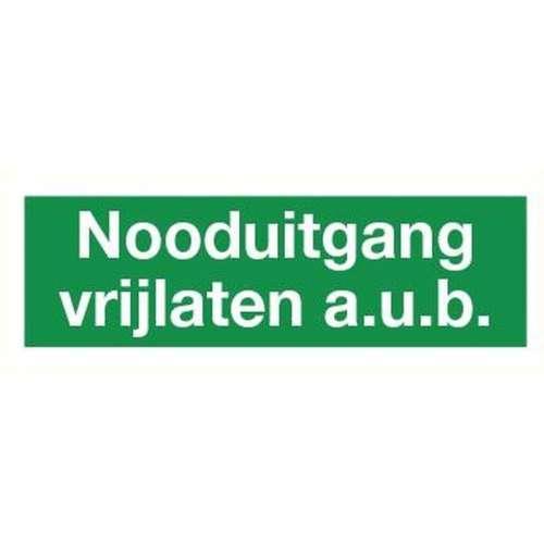 Pictogram nooduitgang vrijlaten AUB- Sticker