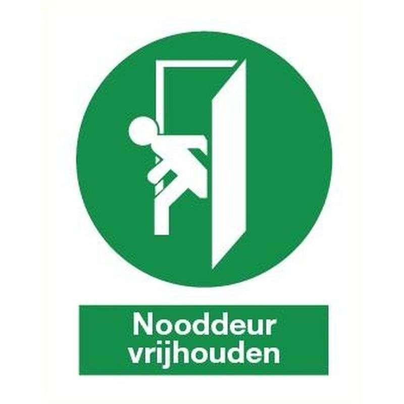 Nooddeur vrijhouden- Sticker 15 x 20 cm