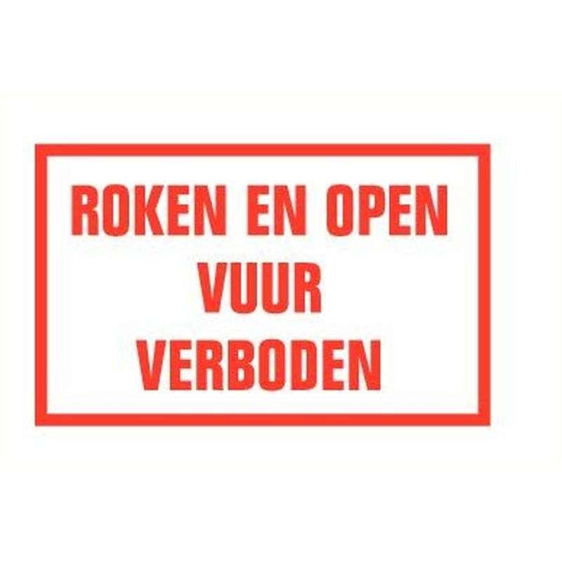 Roken open vuur verboden- Sticker 40 x 25 cm