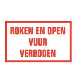 Pictogram roken en open vuur verboden- Sticker