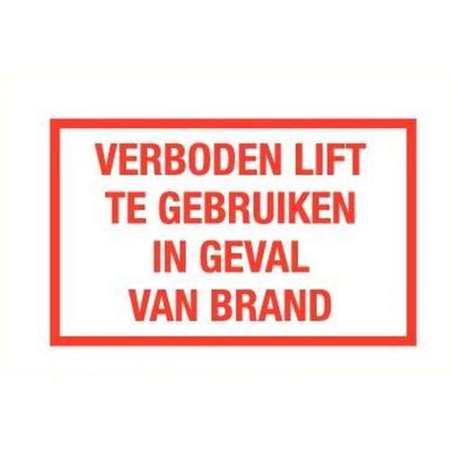 Pictogram verboden lift te gebruiken bij brand- Sticker